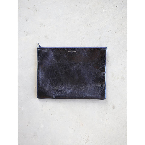 Tracey Tanner Large Flat Zip Pouch in Sapphire Ink