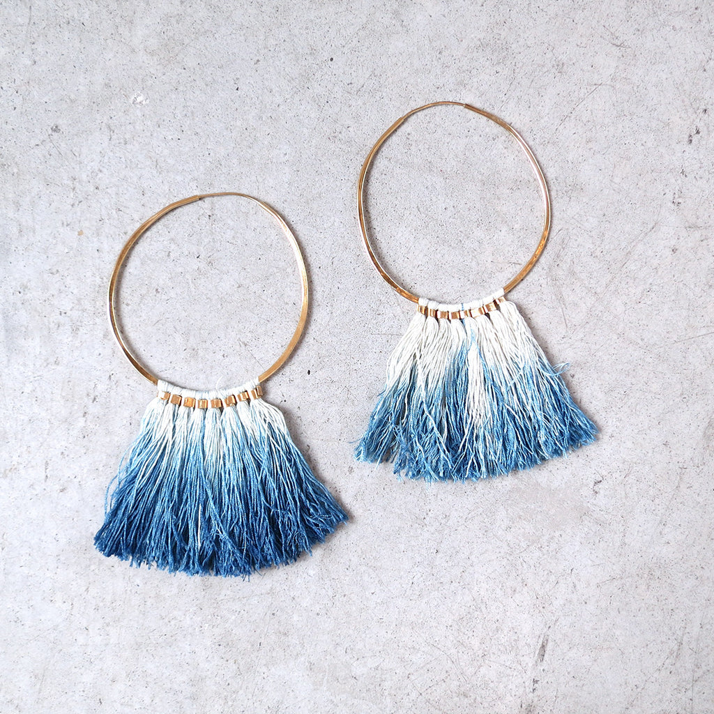 Takara Ornament Hoops in Indigo