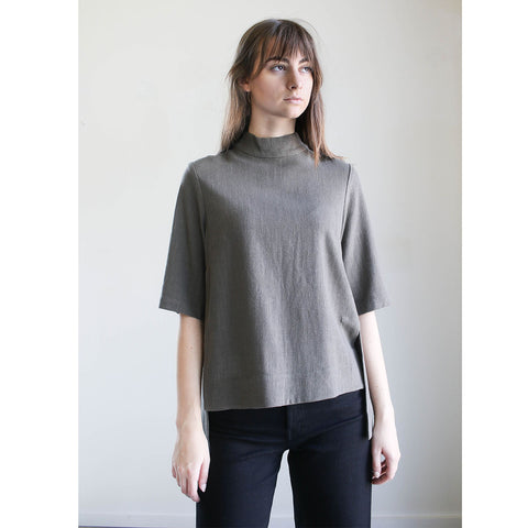 7115 By Szeki Mock Neck Square Hem Top Deep Olive