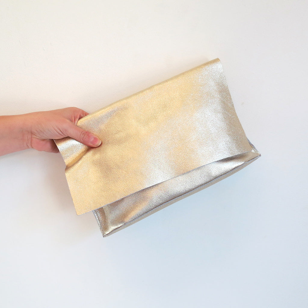 Tracey Tanner Carmen Clutch in Double Face Sparkle Platinum and Rose