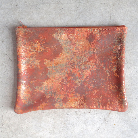 Tracey Tanner Large Flat Zip Pouch in Copper Oxide