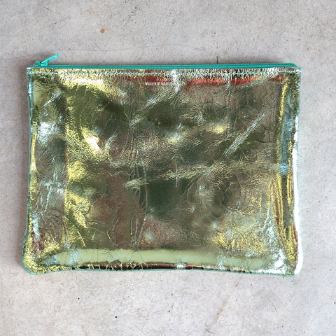 Tracey Tanner Large Flat Zip Pouch in Mint Foil
