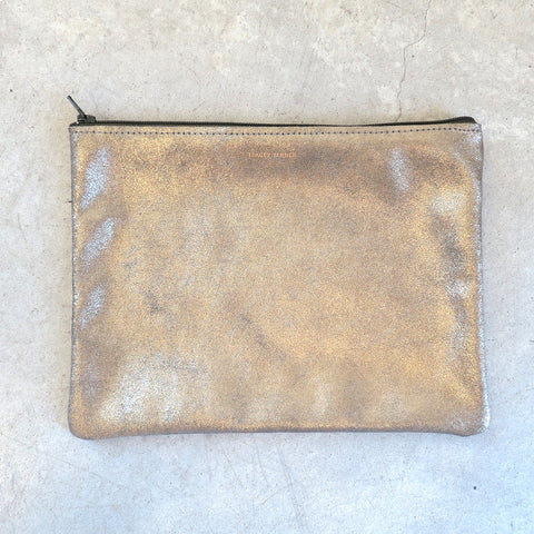 e95fa530d5 Tracey Tanner Large Flat Zip Pouch in Moss Sparkle