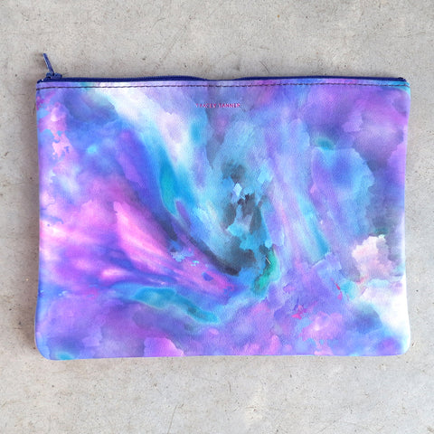 Tracey Tanner Large Flat Zip Pouch in Night Watercolor