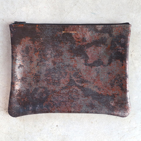 Tracey Tanner Large Flat Zip Pouch in Bronze Oxide
