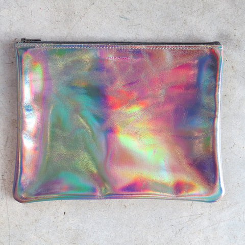 Tracey Tanner Large Flat Zip Pouch in Dove Hologram