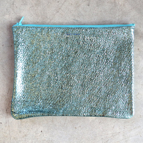 2bf435f248 Tracey Tanner Large Flat Zip Pouch in Seafoam Crinkle