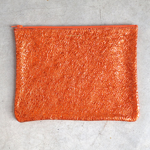 Tracey Tanner Large Flat Zip Pouch in Sunset Crinkle