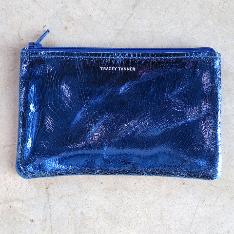 Tracey Tanner Small Flat Zip Pouch in Cobalt Foil