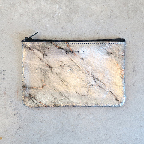 Tracey Tanner Small Flat Zip Pouch in Cool Marble