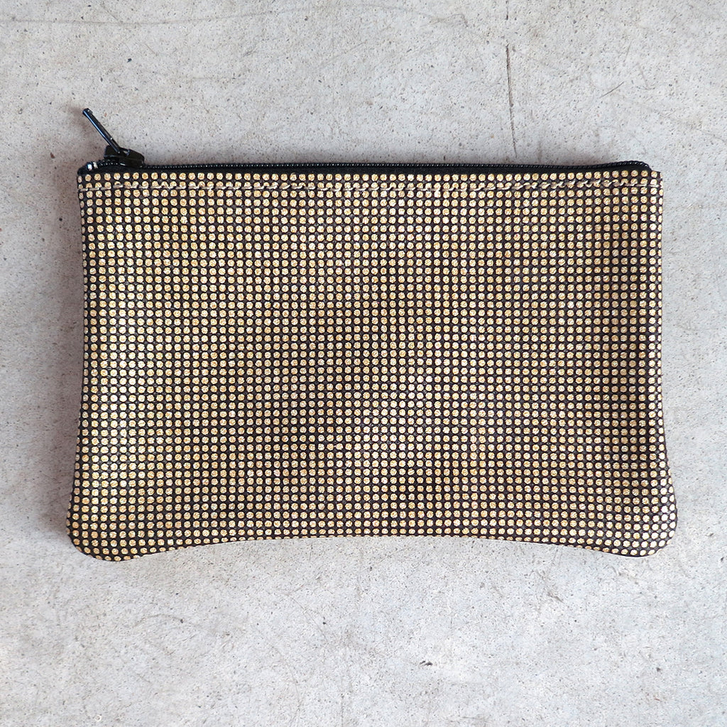Tracey Tanner Small Flat Zip Pouch in Gold Optic