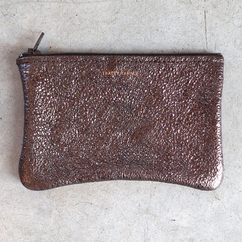 Tracey Tanner Small Flat Zip Pouch in Gravel Crinkle