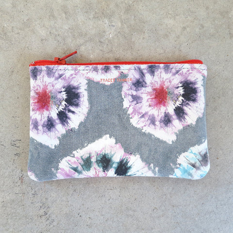 Tracey Tanner Small Flat Zip Pouch in Grey Tie Dye