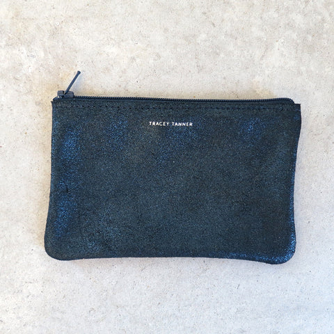 Tracey Tanner Small Flat Zip Pouch in Midnight Sparkle