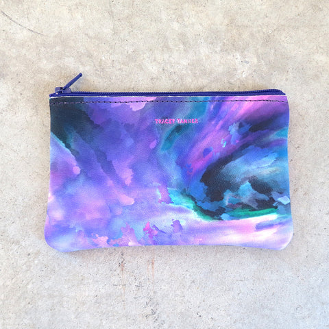 Tracey Tanner Small Flat Zip Pouch in Night Watercolor
