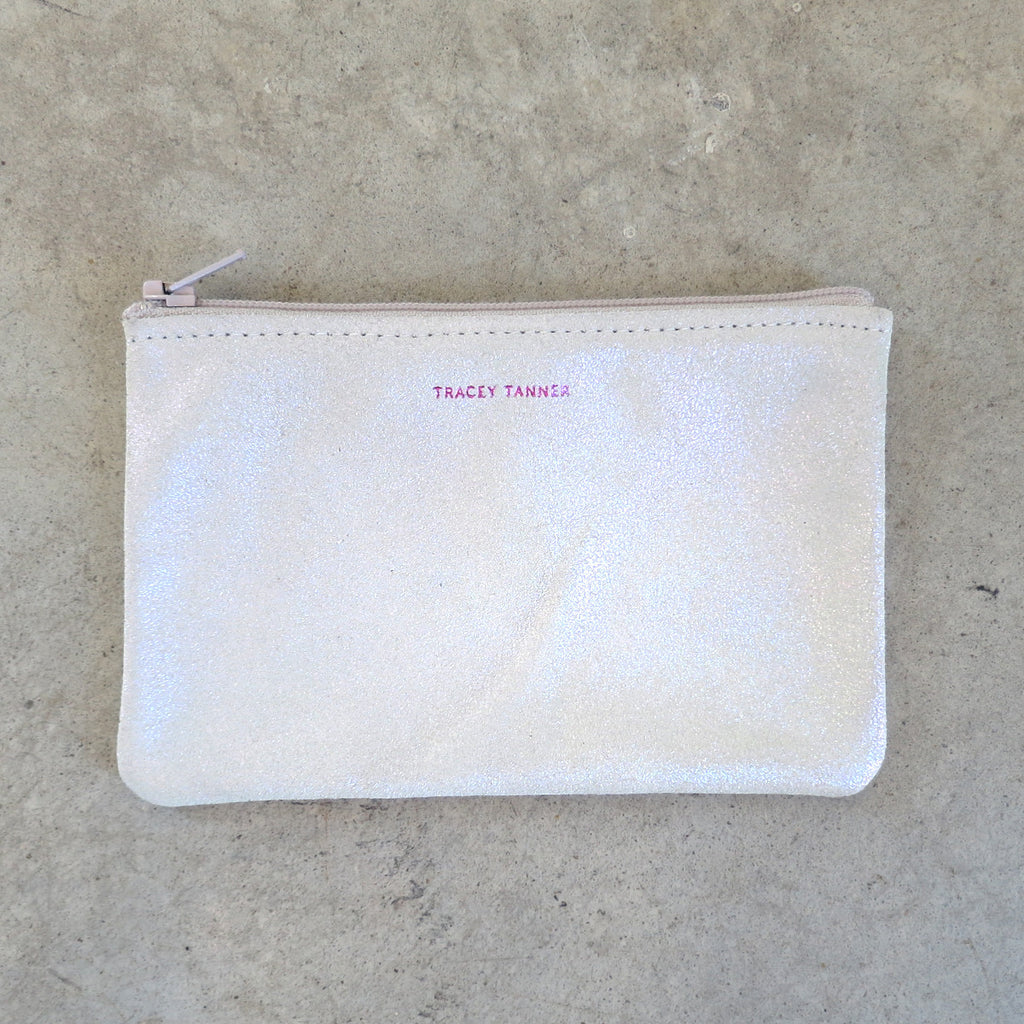 Tracey Tanner Small Flat Zip Pouch in Opal Sparkle