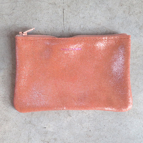 Tracey Tanner Small Flat Zip Pouch in Rose Gold Sparkle