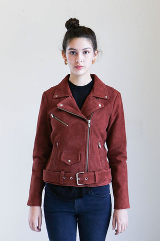 Veda Jayne Suede Jacket in Rust