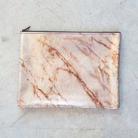 Tracey Tanner Large Flat Zip Pouch in Warm Marble
