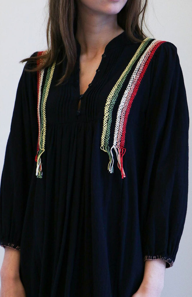 The Great Adobe Dress in Black with Embroidery