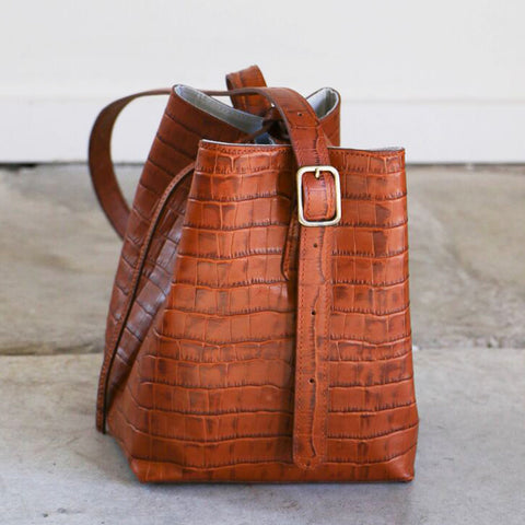 Creatures of Comfort Small Apple Bag in Camel Embossed Croc