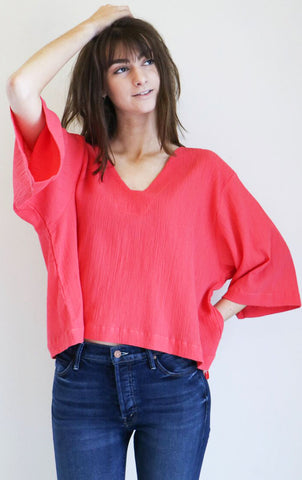 Sunja Link Bell Sleeve Top in Pink Crinkle Cotton