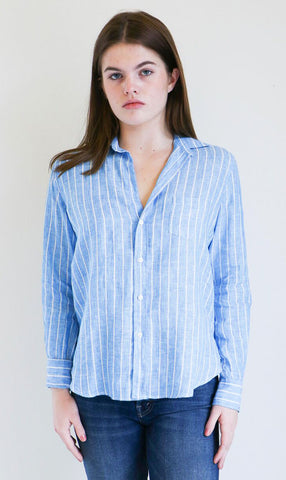 Frank & Eileen Barry Shirt in Blue Wide Stripe
