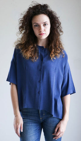 7115 By Szeki Mid Sleeve Button Down in Blue