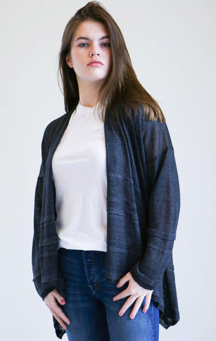 Pas de Calais Draped Cardigan in Charcoal