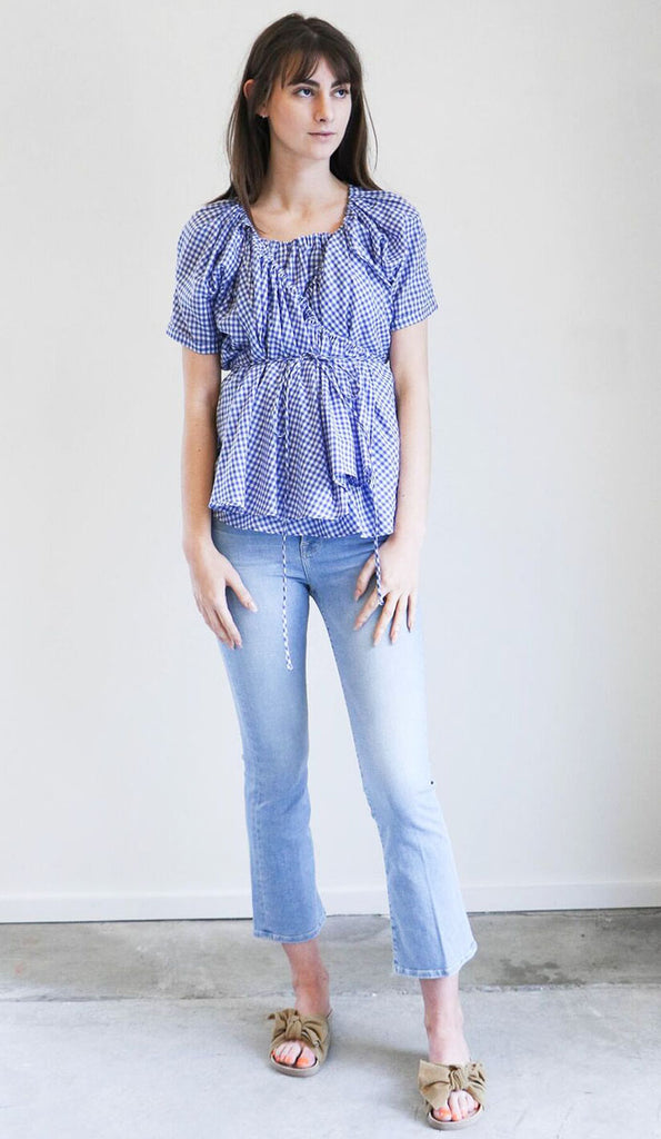 Caron Callahan Elena Top in Blue Gingham