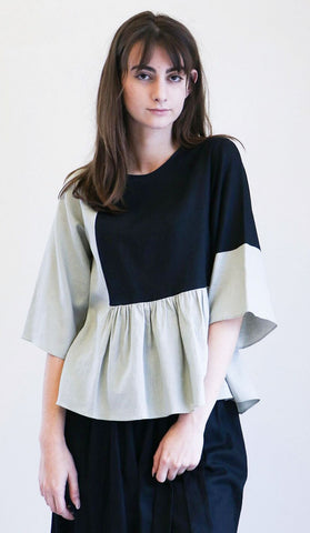 Correll Correll Flocco Top in Black and Sage