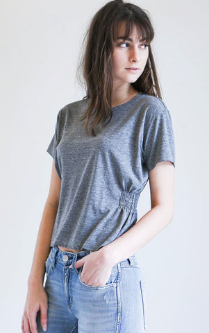 Amo Denim Girlfriend Tee in Heather Grey