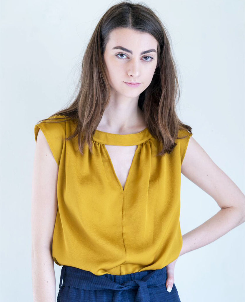 No. 6 Shay Silk Top in Hammered Gold