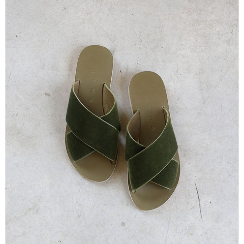 Kyma Chios Sandals in Army Green Velvet