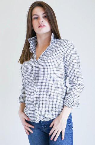 Frank & Eileen Barry Shirt in Navy Grid