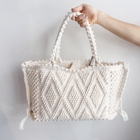 Antonello Medium Capricciolo Tote in White