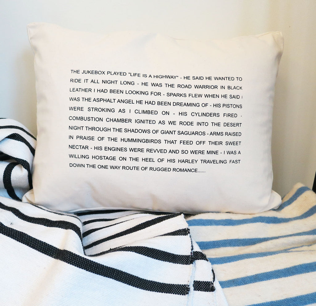 Pulpoetry Motorcycle Pillow by Barbara Hill