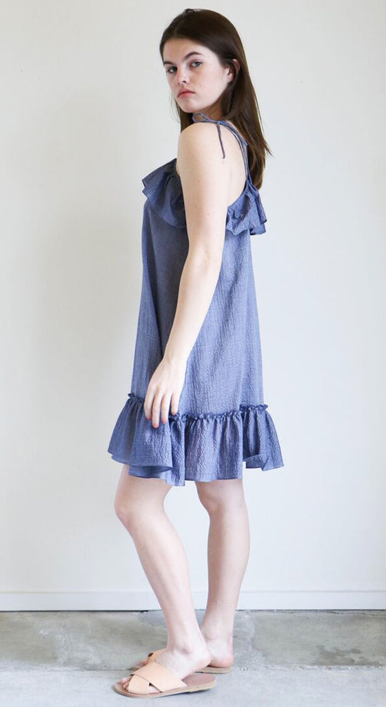 Loup Charmant Porto Dress in Marine Seersucker