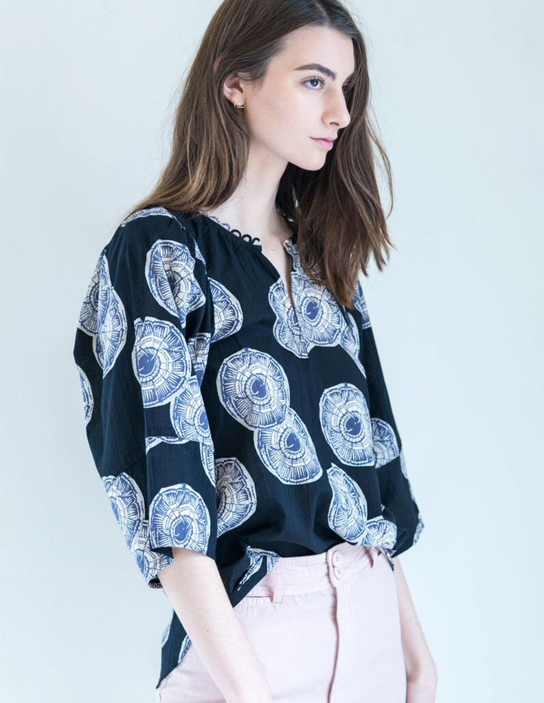 Apiece Apart Nova Ballon Sleeve Top in Soft Black Celestial