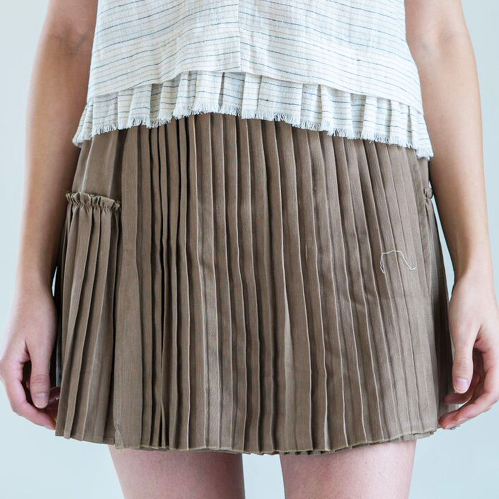Apiece Apart Palomitas Accordian Skirt in Camel
