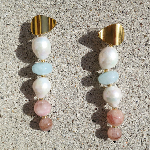 Lizzie Fortunato Pearl Column Earrings