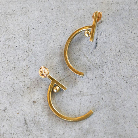 LM White Picasso Earrings in Brass