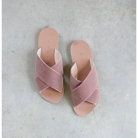 Kyma Chios Sandals in Pink Velvet