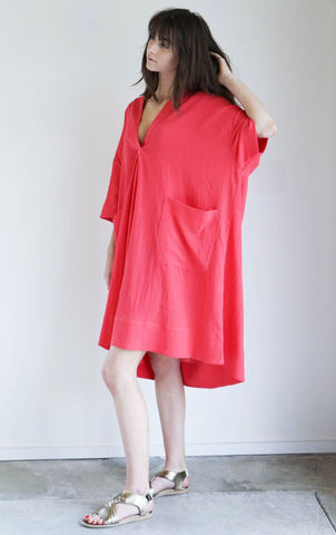 Sunja Link Pullover Dress in Pink Crinkle Cotton