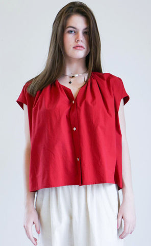 Caron Callahan Riley Top in Red Cotton Poplin