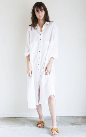 Sunja Link Shirt Dress in White Crinkle Cotton