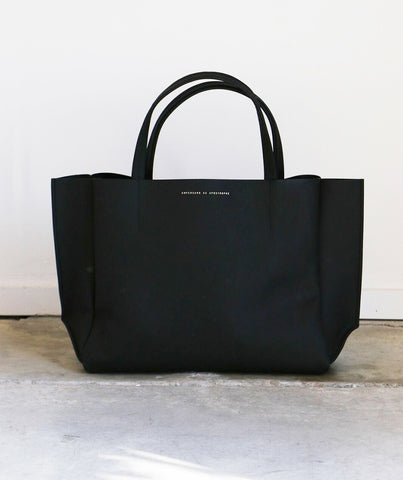 Ampersand as Apostrophe Stiff Sideways Tote in Matte Black