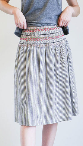 The Great Vista Skirt in Rail Stripe with Embroidery