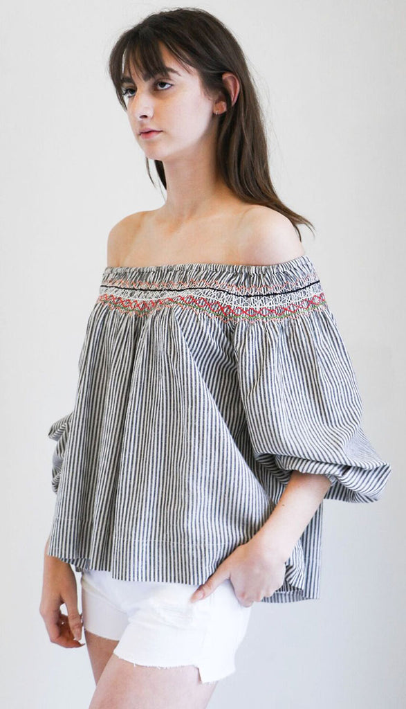 The Great Vista Top in Rail Stripe with Embroidery