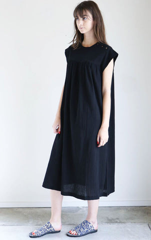 Sunja Link Yoke Dress in Black Crinkle Cotton
